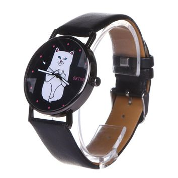 2017 New Cute Cat PU Leather Watch Student Lovely Round Black Crystal Dial Quartz Watch Casual Girls Ladies Women Bracelet Watch