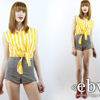 Vintage 80s Yellow Striped Crop Top S M Cropped Top Midriff Top Cropped Shirt 80s Crop Top 80s Top 80s Shirt Striped Blouse Striped Top