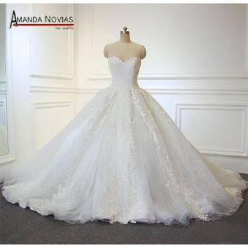 Strapless New Model Beading Lace Wedding Dress Ball Gown