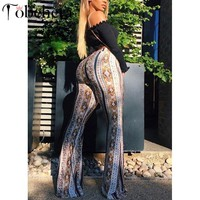 Glamaker Boho printed bodycon flare pants Women high waist summer pants sexy trousers Female streetwear pants elegant bottoms