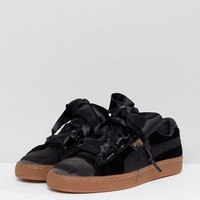 Puma Basket Heart Sneakers In Black Velvet at asos.com
