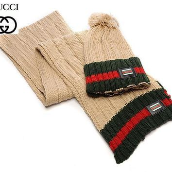 Gucci Women Winter Knit Warmer Hat Cap Scarf Set One-nice™