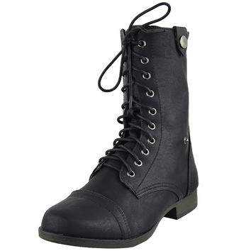 Womens Ankle Boots Camouflage Lining Lace Up Combat Shoes Black SZ