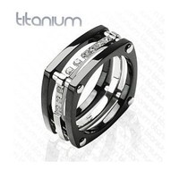 New Solid Titanium Black IP Wedding Cz Band Mens Ring