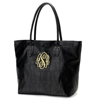 Black Tote Purse Bag  - Monogrammed Personalized Purse