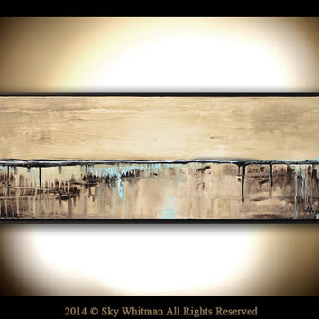 Original Painting Framed Abstract Panoramic Textured Cream Sand Brown Blue Abstract High Gloss Modern Contemporary Art 13x37 by Sky Whitman