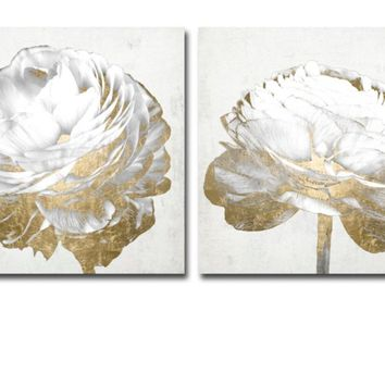 Gold And White Blossom On White - Set of 2 | Canvas | Art by Type | Art | Z Gallerie