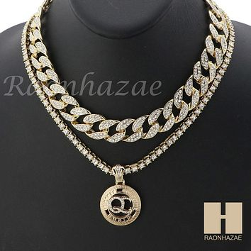 MENS 14K GOLD PT QC ROUND ICED OUT MIAMI CUBAN 16