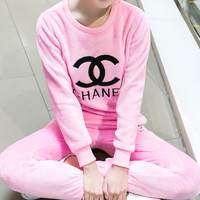 CHANEL Sweatshirt Sweater Pants Sweatpants Set Two-Piece Sportswear