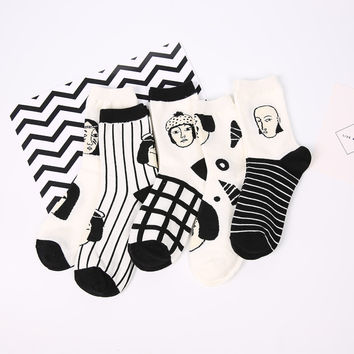 Abstract Painting Pattern Vintage New Design Girls Korea Socks & Hosiery Casual New Arrivals Cute Discounts Women's Warm Socks