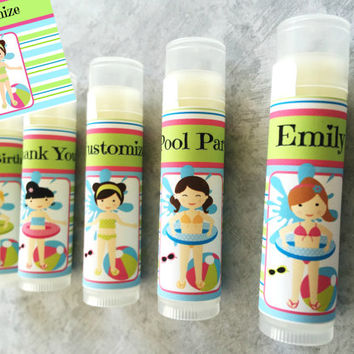 5 Pc Pool Party Lip Balm Favors/Pool Party/Pool Birthday/Girl Birthday Party/Pool Lip Balm/Pool Party Favors/Pool Party Chapstick