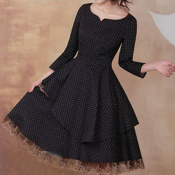 Black dress Linen Cotton dress women dress fashion dress Long sleeve dress---WD033
