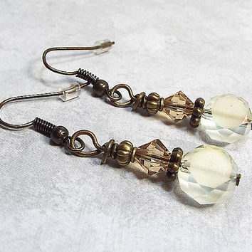 Yellow and Brown Drop Earrings Beaded Dangle Antiqued Brass Womens Gift Made with Frosted Faceted Glass and Swarovski Crystals