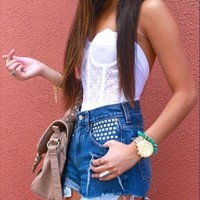 White Vintage Lace Eyelet Bustier Crop Top from Poison