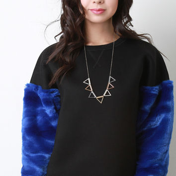 Faux Fur Sleeves Neoprene Sweatshirt