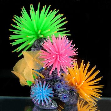 Silicone Aquarium Fish Tank Artificial Coral Plant Underwater Ornament Decor 1pcs