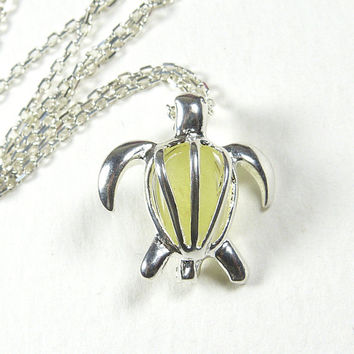 Turtle Genuine Lemon Sea Glass Locket Necklace