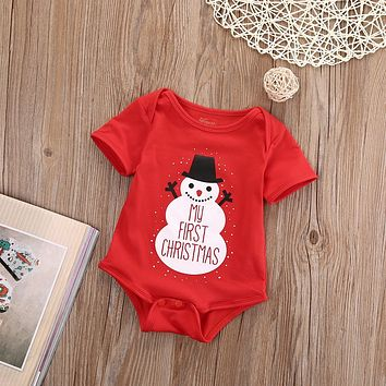 2018 Multitrust Hallowee Newborn Baby Kids Girls Boys Merry Christmas Romper Santa Claus and snowflakes Jumpsuit Outfit Set