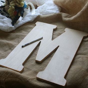 Wood Monogram Guest Book - Guest Book Alternative - includes pens and luminaria sign
