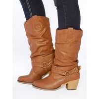 Tall Buckle Cowboy Boots