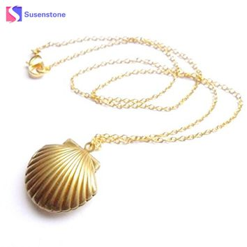 susenstone 2017 New Women Seashell Locket Pendant Gold Locket Gold Brass Sea Shell Necklace Chain Vintage Necklace Women Jewelry