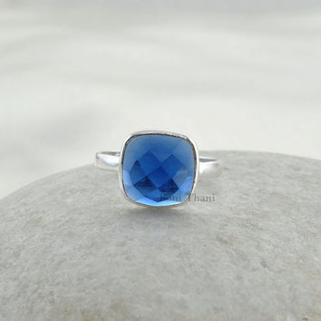 Sterling Silver Blue Sapphire Ring Quartz Cushion 10x10mm, Bezel Ring, Engagement Ring, Wedding Ring, Mens Ring, Cocktail Rings- #1008