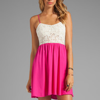 Testament Crochet Mini Dress in Fuchsia from REVOLVEclothing.com