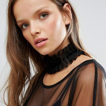 Monki Exclusive Wide Ruffle Choker Necklace at asos.com