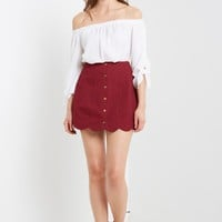 Red Anna Scalloped Skirt