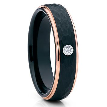 6mm - White Diamond Tungsten Ring - Rose Gold - Black Tungsten Ring