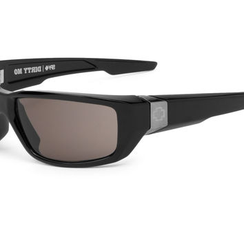 Spy Dirty Mo Black Shiny Sunglasses, Grey Lenses