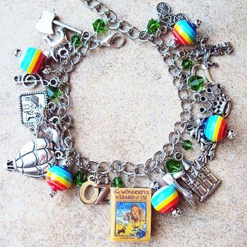 ADULT SIZE Wizard of OZ Book Fringe Charm Bracelet by sophiesbeads