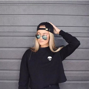 Alien Patch Long Sleeve Crop Sweatshirt