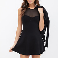 FOREVER 21 Illusion Sweetheart Dress Black