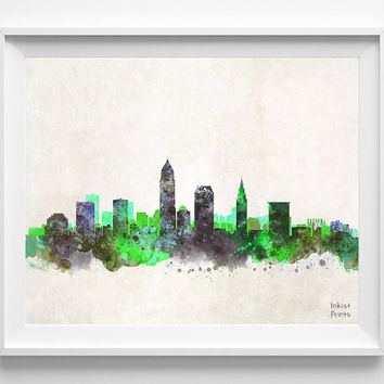 Cleveland Skyline Watercolor Poster, Ohio Print, Cityscape, City Painting, State, Illustration Art Paint, Giclee Wall, Home Decor [NO 227]
