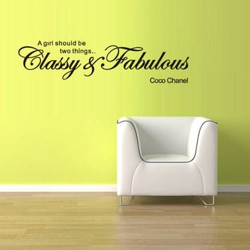 Wall Vinyl Sticker Decals Decor Art Bedroom Design Mural Words Sign Quote Coco Chanel Girl Fabulous Gllassy (z879)
