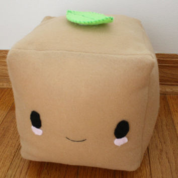 Fried Tofu Plush With Green Tea Leaf by ChubbyPandago on Etsy