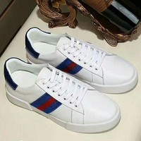 GUCC 2018 new high quality men's striped trend outdoor sports shoes Blue