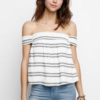 ASTR Off-Shoulder Striped Gauze Top