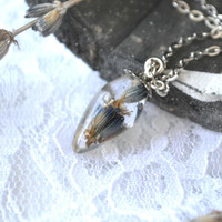 Romantic pendant with a real lavender flowers captured inside a transparent resin drop - botanical eco-friendly jewelry