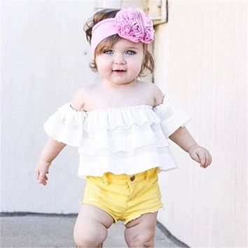 Newborn Baby Girls Off Shoulder Cotton shirt  new arrival fashion Crop Top t-shirt Outfits Clothes