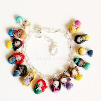 Disney Princesses inspired,bracelet collection. Disney bracelet. Disney jewelry. Clay charm. Princess Ariel, Anna,Elsa,Merida,Snowwhite...
