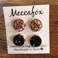 Mecca Fox Earring Set- 10MM Rose Gold Set of 2 (Rose Gold and Black)