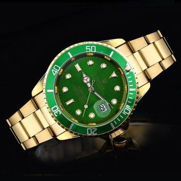 GJ1A Rolex tide brand fashion men and women fashion watches F-SBHY-WSL Gold + Green Case + Green Dial