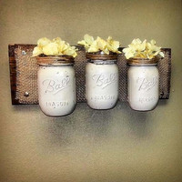Mason Jar Decor, Pallet Wood, Rustic Storage, Three Sconce Mason Jars,Wall Hanging Planter , Bathroom Organizer , Gift,Country  Decor