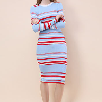 Statement Stripes Knitted Dress in Sky Blue