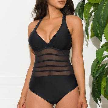 White Haven One Piece Swimsuit - Black