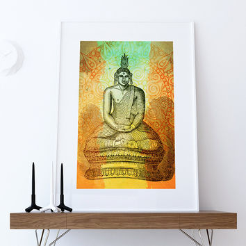Hindu Gautama or Buddha Print Vintage Hindu Decor Wall Art - Giclee Print on Cotton Canvas and Paper Canvas