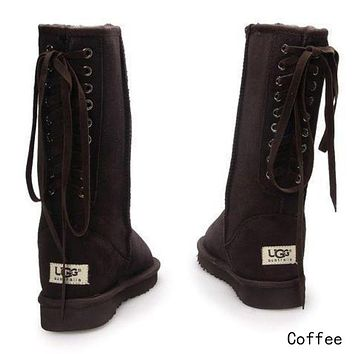 UGG Classic Women Fashion Strappy Leather Winter Half Boots Shoes Coffee