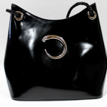 Pre-own Authentic Vintage Cartier Paris Black Patent Hard Leather Purse Handbag